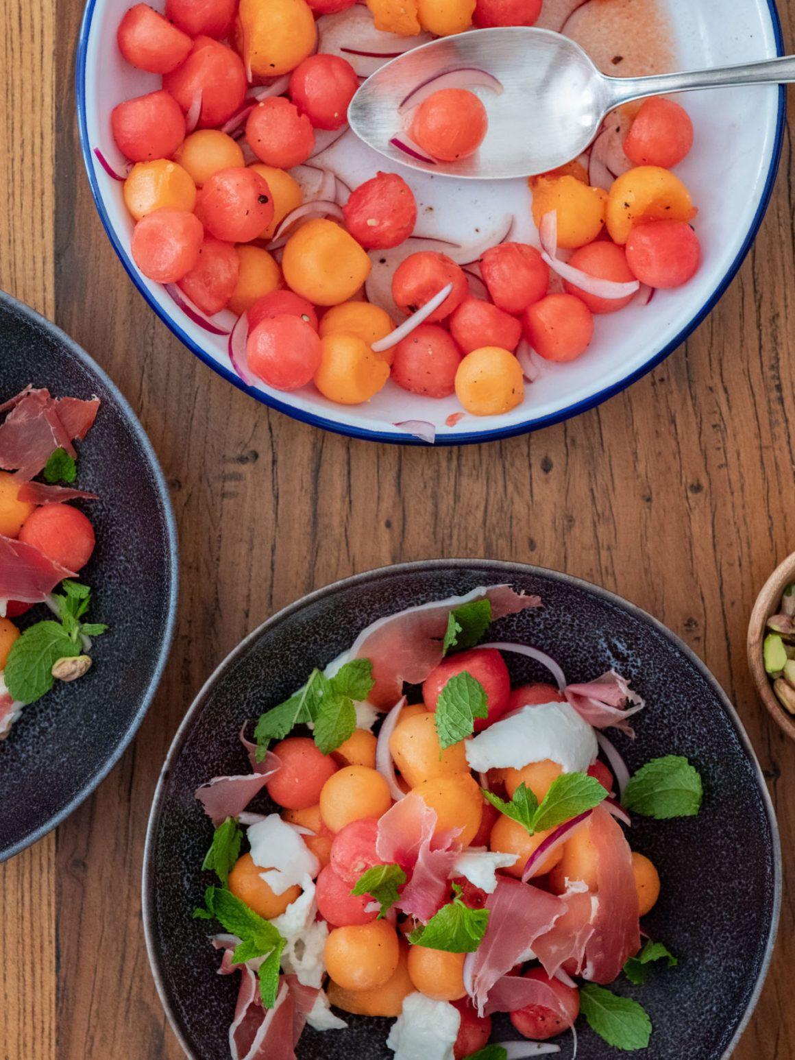 Melonensalat Minze Serano Schinken Rezept Mozzarella