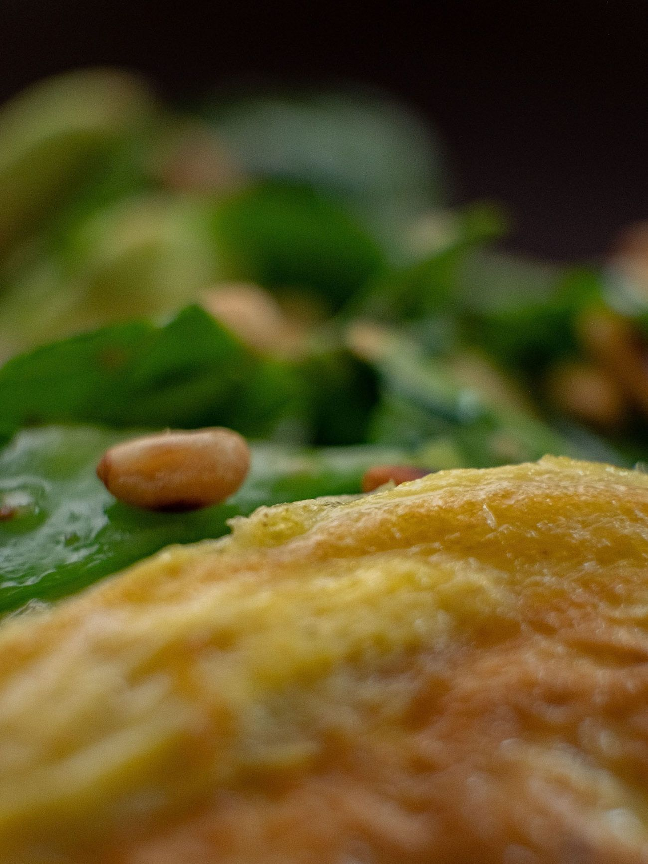 Rezept Omelett mit Spinatsalat, Omelett, Pinien Kerne