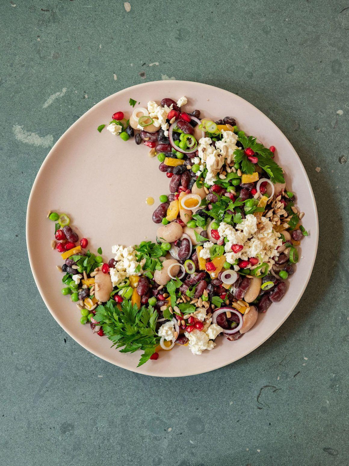 Foodblog, Rezept Bohnensalat, Zwiebeln, Erbsen, Kidneybohnen