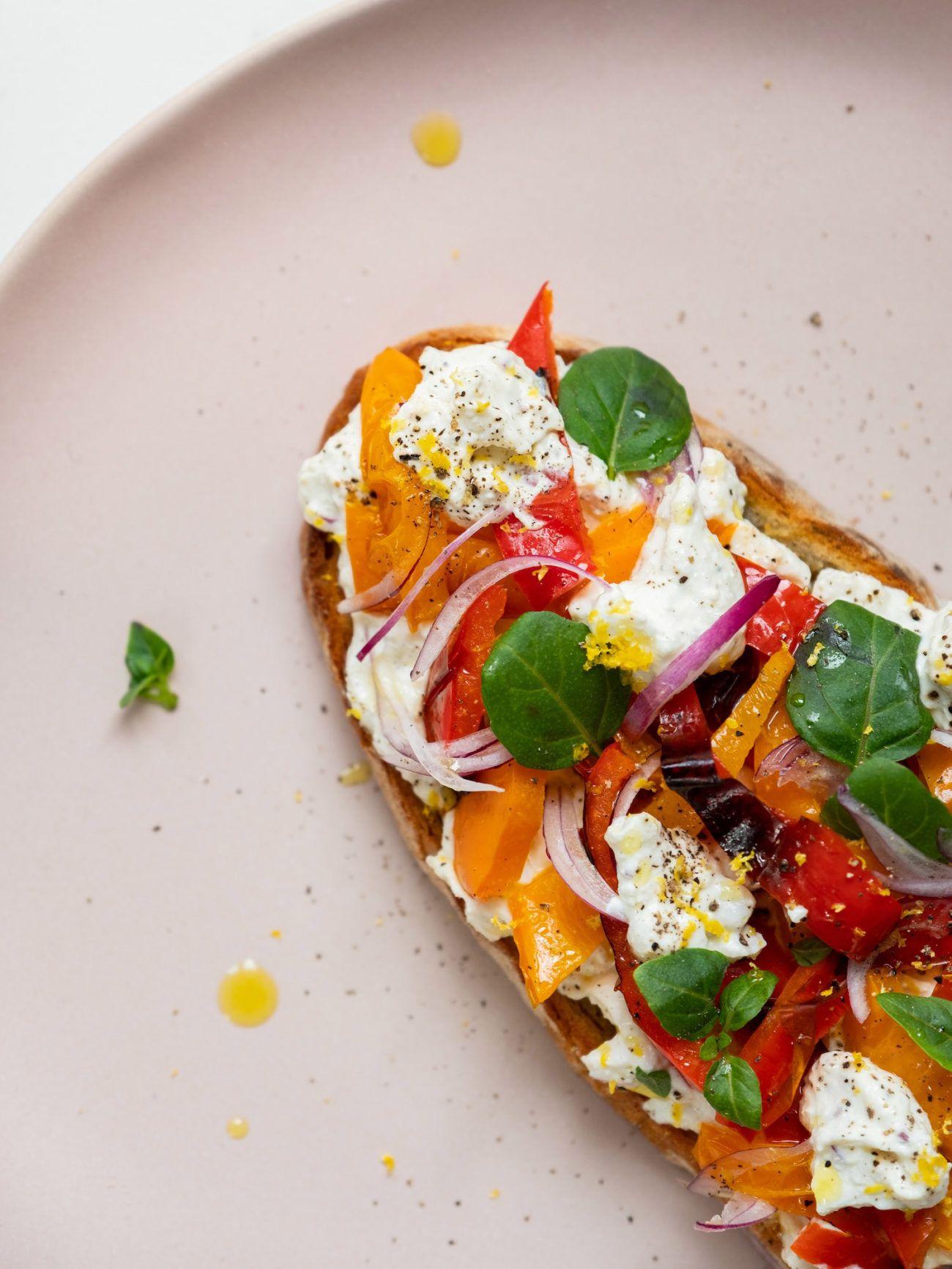 Rezept Sandwich mit Zitronenricotta und gegrillter Paprika, Olivenöl