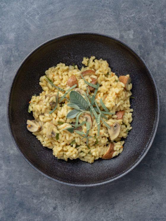 About Fuel, Foodblog, Rezept Champignon Risotto mit Salbei, Teller, Reis
