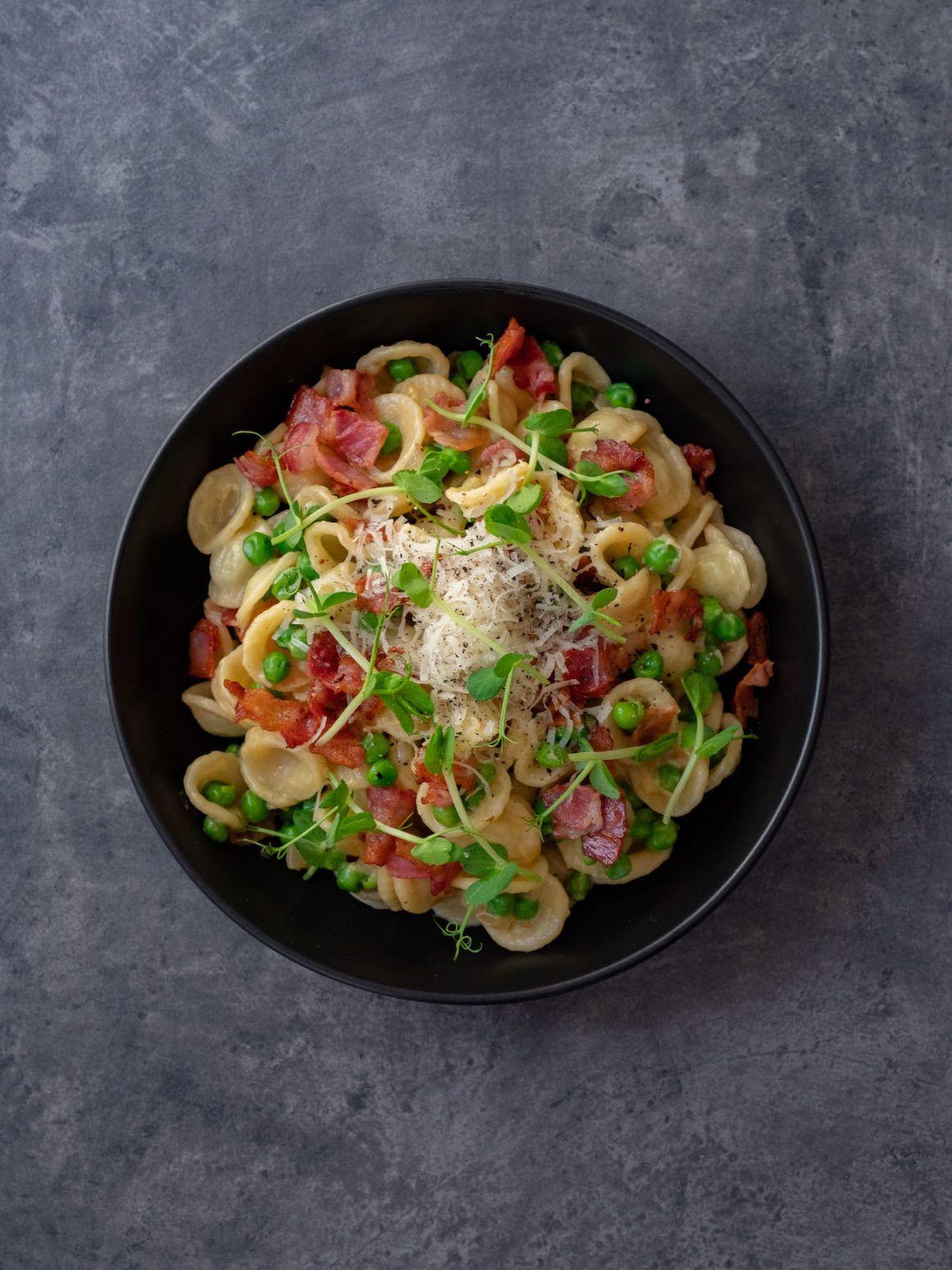 About Fuel, Foodblog, Rezept, Orecchiette mit Erbsen und Speck, Pasta, Erbsen Sprossen
