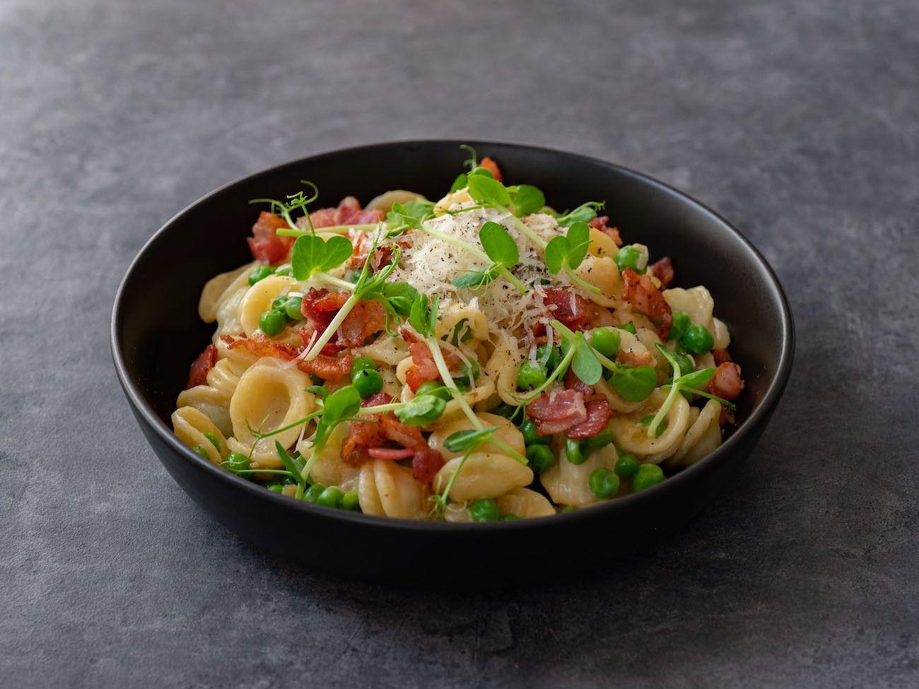About Fuel, Foodblog, Rezept, Orecchiette mit Erbsen und Speck, Pasta, Parmesan