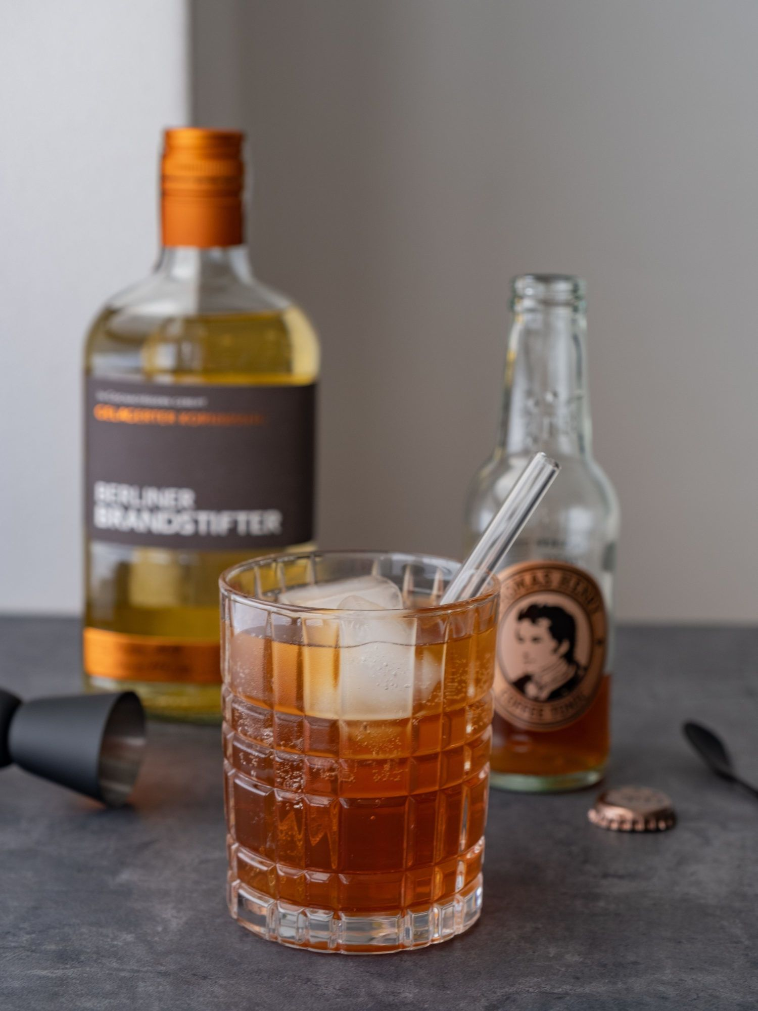 Foodblog, About Fuel, Brandstifter Coffee Tonic, Jigger, Kornbrand, Thomas Henry