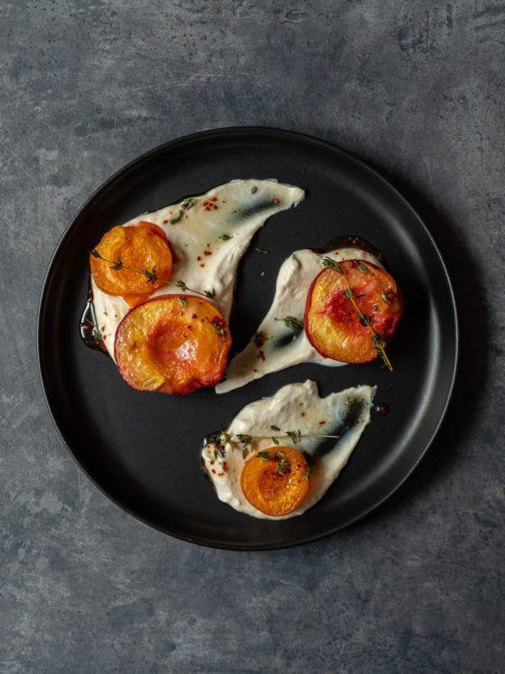 About Fuel, Foodblog, Rezept, Gebackene Pfirsiche und Aprikosen, Chili, Ahornsirup, Thaymian