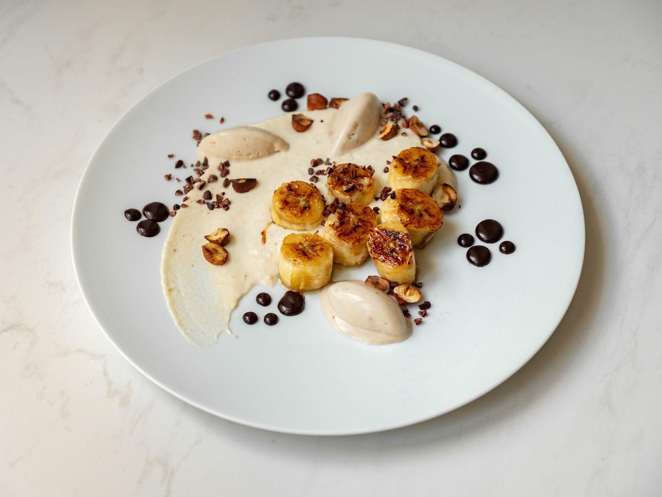 Foodblog, About Fuel, Rezept, Rum Bananen Dessert mit Hasenüssen und Schokoladen-Karamell, Bananencreme