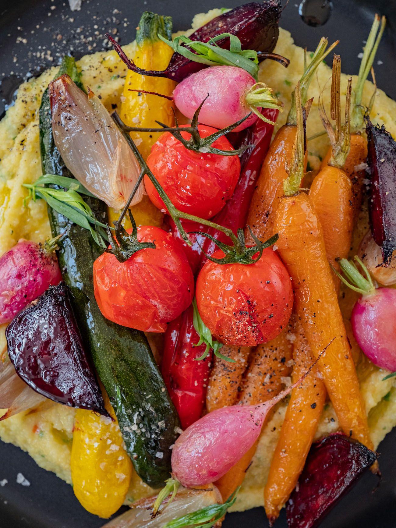Rezept, Foodblo, About Fuel, Cremige Polenta mit Sommergemüse, Tomaten, Zucchini