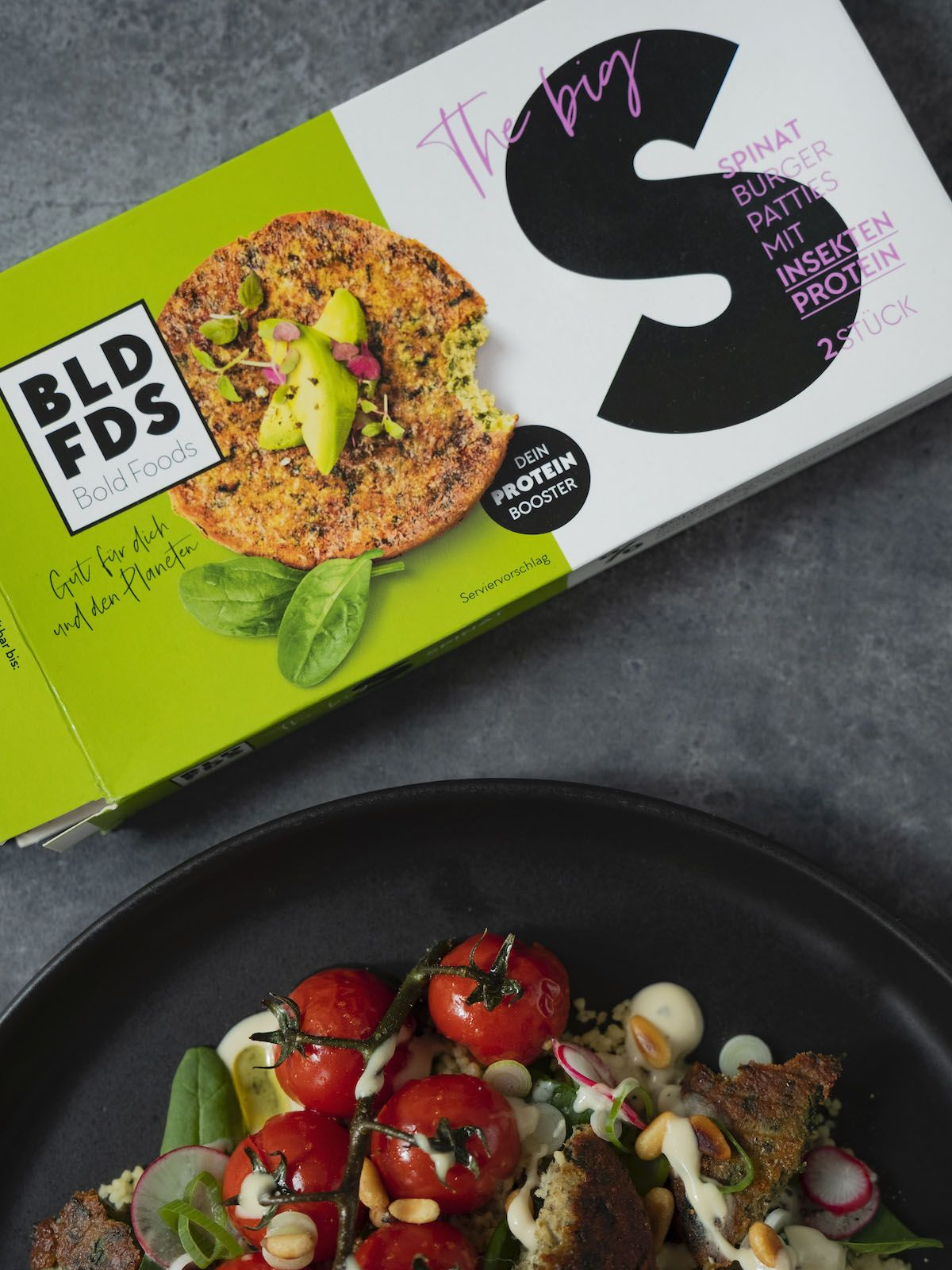About Fuel, Foodblog, Rezept, Bold Foods The big S, Patties, Tomaten, Spinat, Salat