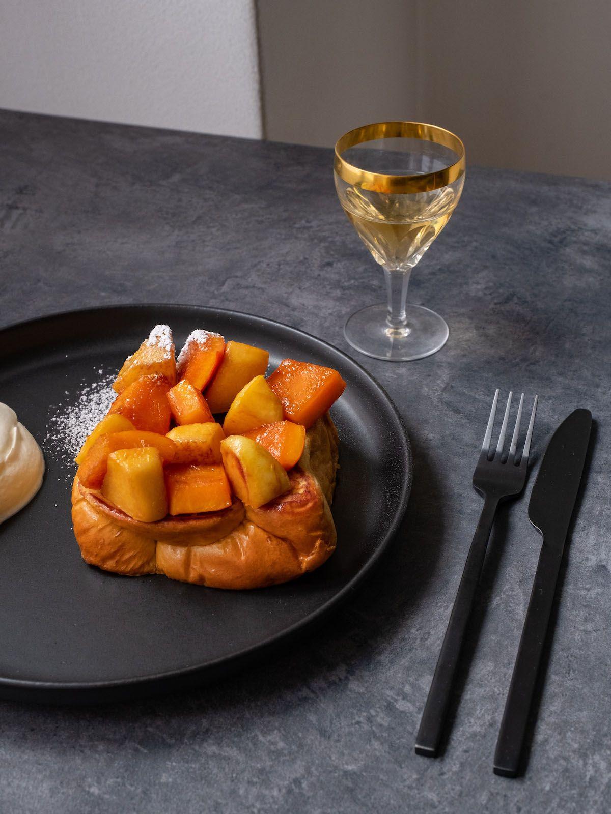 About Fuel, Foodblog, Rezept, French Toast, Ferdinands Saar Quince, Likör, Quitte, Kürbis, Teller