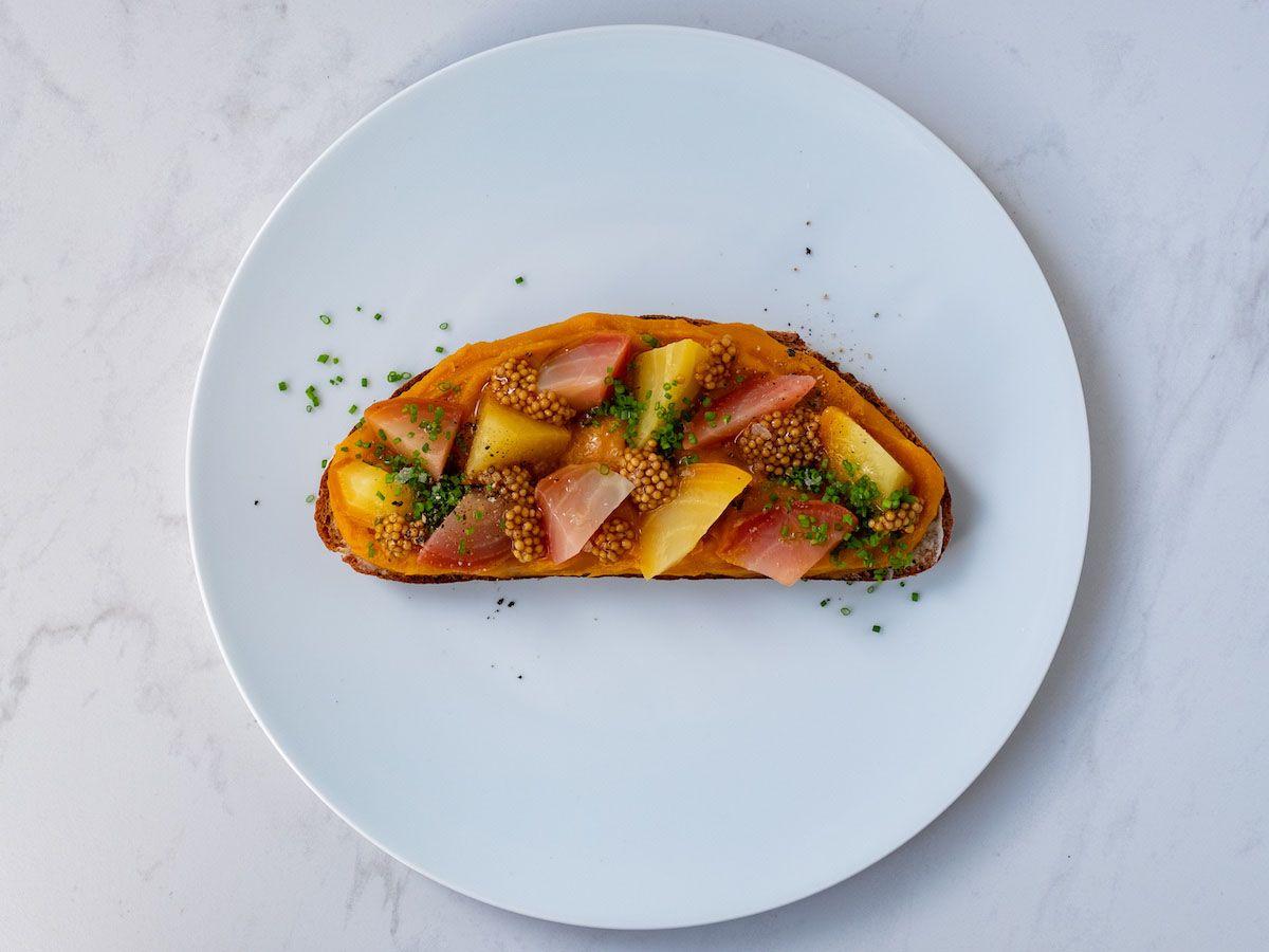 Foodblog, About Fuel, Rezept, Sandwich, Kürbis Zwiebel Marmelade, Salz, Flor de sal, Aufstrich, Senfcaviar