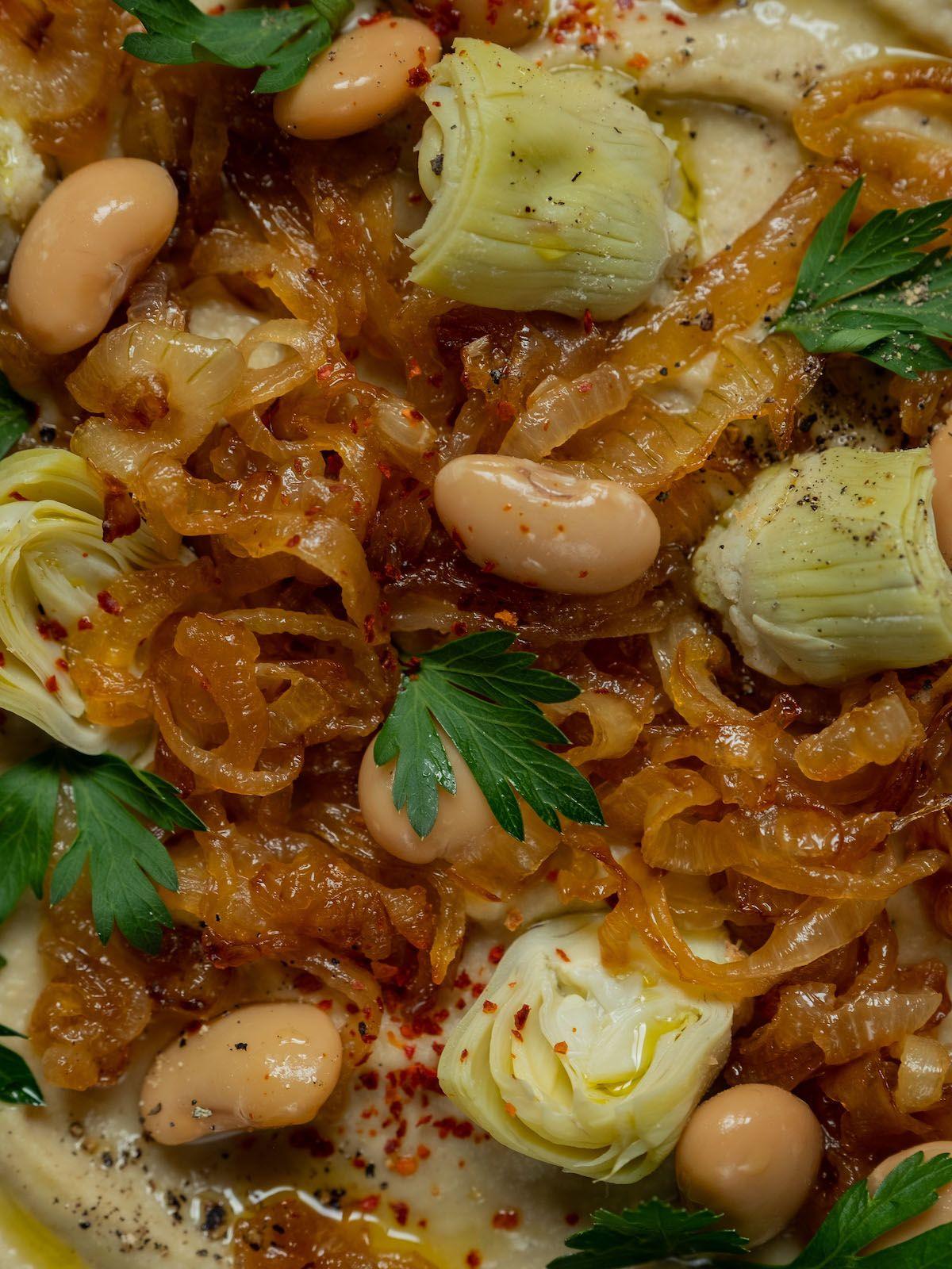foodblpog, about fuel, rezept, Weiße Bohnen artischocken Dip, karamellisierte Zwiebeln, Pfeffer