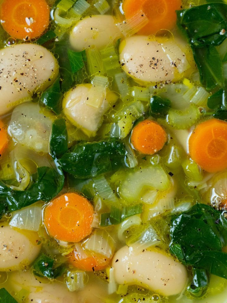 About Fuel, Rezept, weiße Riesenbohnen, Suppe, Stangensellerie, Brühe, vegan, vegetarisch, Spinat, Zwiebeln