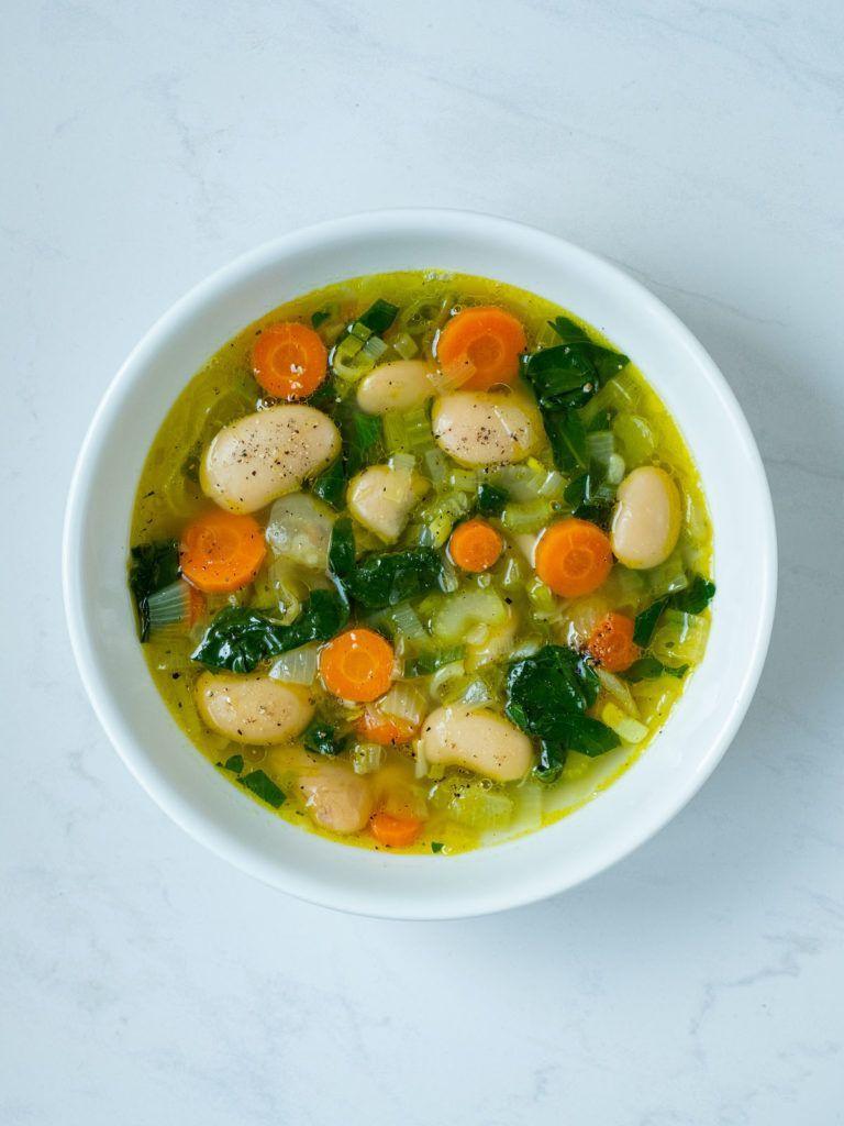 About Fuel, Rezept, weiße Riesenbohnensuppe, Karotte, Stangensellerie, Spinat, Zwiebeln, Brühe, vegan, vegetarisch