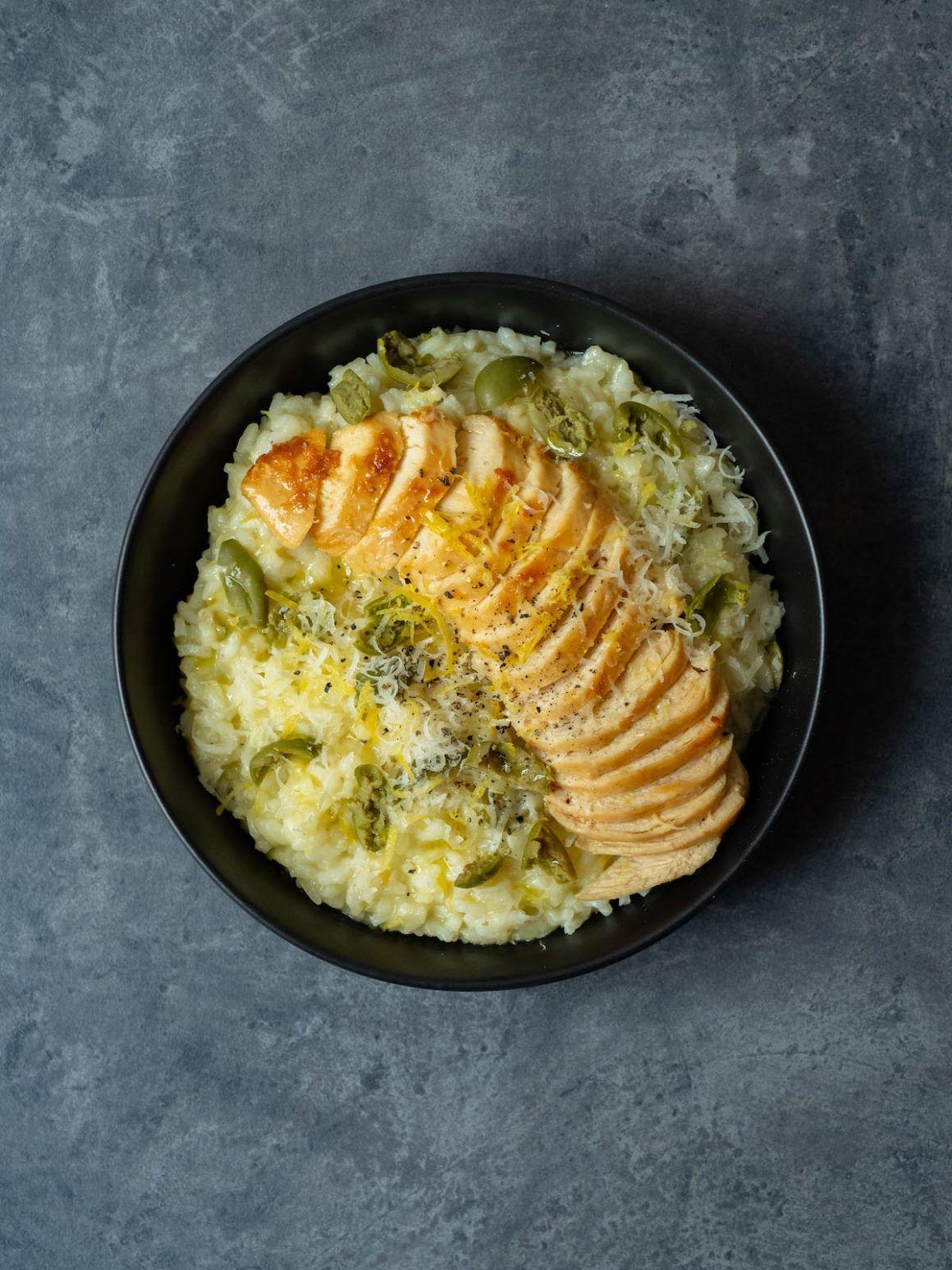 Foodblog, About Fuel, Rezept Zitronenrisotto, grüne Oliven, Maispularde, Hauptgericht, Parmesan