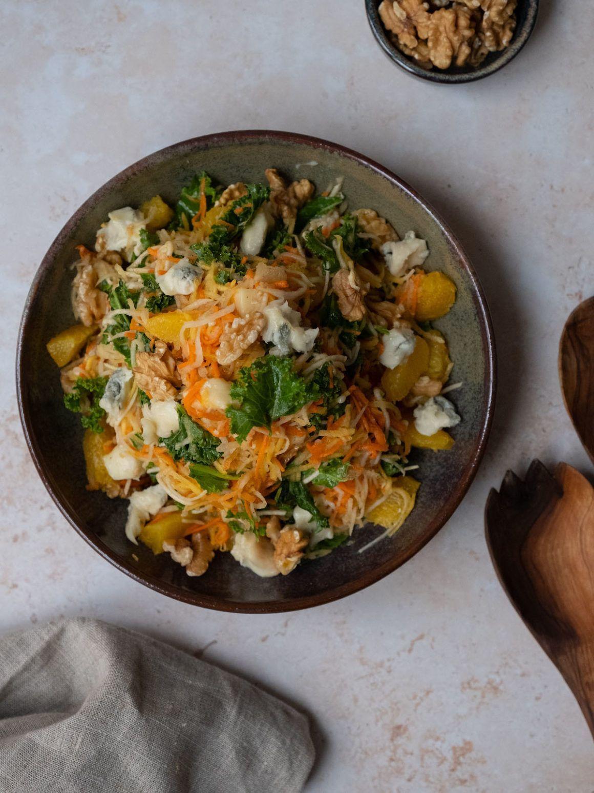 Foodblog, About Fuel, Rezept, Orangenfilets, Grünkohl, Birne, Wintersalat, Walnüssse